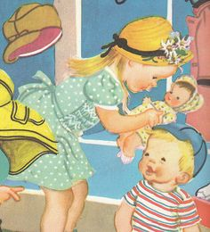 Vintage Eloise Wilkin Illustration - Boys and Girl - 1948 Children's Book Page. $4.95, via Etsy.
