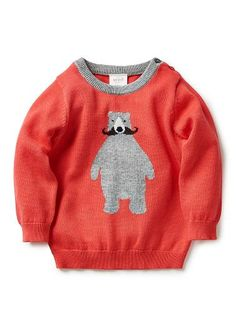 100%cotton sweater with front intarsia bear with mo and contrast neck rib.