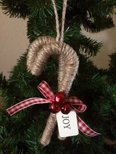 Primitive Candy Cane Jute Ornament/Package Decoration – Home Decoration Rustic Christmas Ornaments, Handmade Christmas Decorations, Christmas Fun, Primitive Christmas Ornaments, Burlap Ornaments, Christmas Manger, Ornaments Design, Christmas Parties, Xmas Decorations