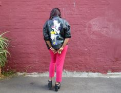 Bright Green Laces | Style, fashion, creativity and sarcasm. #diy #painted #snowwhite #disney #leather #jacket