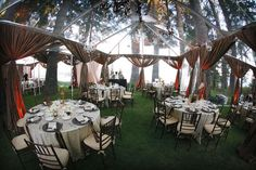 clear tents for an outdoor wedding, minus the rain or runaway tablecloths.