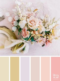 soft color palette,color palette inspired by bouquet,pastel wedding bouquet