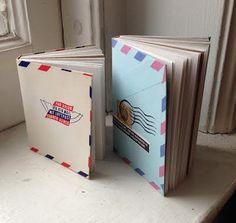 Vintage Envelope Travel Journals by FruitBatPress on Etsy