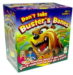 """Don't Take Buster's Bones Package.  Every box includes: one (1) Dog named Buster / 1 Dog Bowl / Colored Bones / 1 Pair of Cat Paw Tweezers / Playing Card / Can play using 3 """"AA"""" batteries - not included in the package"""