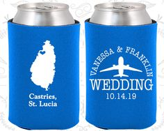 St Lucia Wedding Gifts, Coolies, Destination Wedding Favors, St Lucia Favors, Castries Save the Date,  Coozies (193)