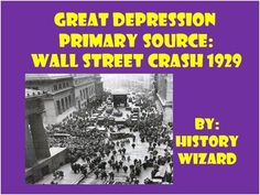 This worksheet allows students to use a primary source document to learn about the Wall Street Crash of 1929. This activity is very easy to use. All you have to do is print off the primary source from the following website for classroom use or direct students to the website to answer the worksheet questions.