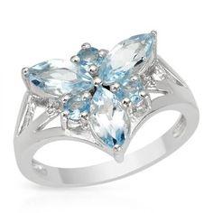 Ring With DiamondsAnd Topazes - Size 6