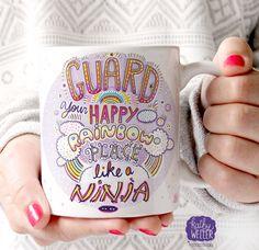 Awesome Mug, Unicorn Mug, Motivational Mug, Inspirational Mug, Positive Vibes Only, Good Vibes, Happy Place, Rainbow Mug, Happy Place, by kathywellerart on Etsy https://www.etsy.com/listing/255780011/awesome-mug-unicorn-mug-motivational-mug