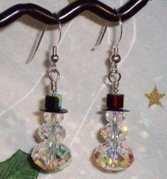 Sparkle Snowman Holiday Cheer Swarovski Earrings by 2smooches, $14.00