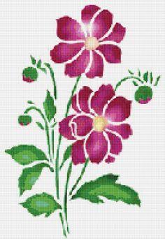 Pink Flower Cross Stitch Pattern Flower Floral Wall Art