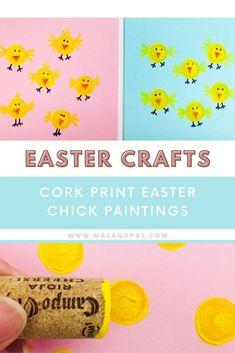 Recycle your wine corks for the cutest Easter chick craft for kids! Help your toddler or preschooler create mini chicks with this easy cork painting project that's super quick, fun, and the perfect art activity to keep your kids busy on Easter! #chickcrafts #kidseastercrafts #winecorkcrafts #eastertoddleractivities Easy Toddler Crafts, Easy Easter Crafts, Easter Ideas, Diy Projects For Kids, Paper Crafts For Kids, Easter Activities For Toddlers, Easy Origami For Kids, Easter Chick, Wine Corks