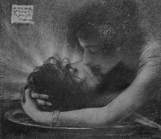 """Lucien Lévy Dhurmer French 1865 - 1953 """"Salome Embracing the Severed Head of John the Baptist"""""""