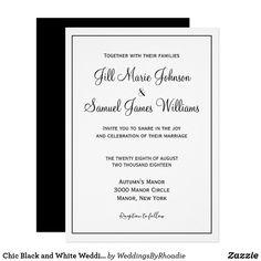 Shop Chic Black and White Wedding Invitation created by WeddingsByRhoadie. Black And White Wedding Invitations, Simple Wedding Invitations, Invites, Ivory Wedding, Wedding Bride, Dream Wedding, October Wedding Colors, White Chic, Bridal Portraits