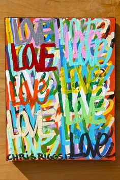 ORIGINAL love abstract street art urban pop art acrylic paint word colorful painting Valentine's Day