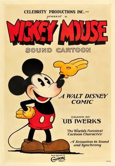 This 1928 film poster of Mickey Mouse is one of the earliest images of the iconic character, created by Walt Disney. Mickey Mouse Vintage, Mickey Mouse Movies, Vintage Cartoon, Vintage Disney, Vintage Movies, Posters Vintage, Old Movie Posters, Classic Movie Posters, Movie Poster Art