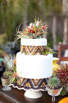 IKAT wedding cake? Fabulous with a little cactus and succulent wedding decor