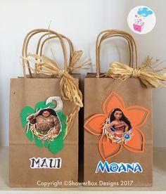 Moana Birthday Favor bags ShowerBox Events Like us on FB #moanabirthday #myshowerbox