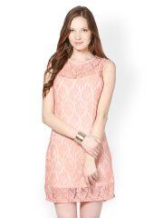 Sportelle USA INDIA Pink Lace Shift Dress