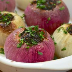 Roasted Onions Stuffed with Wild Rice and Kale