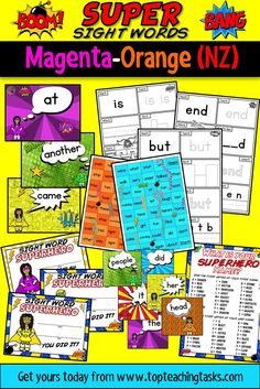 """This Super Sight Words Bundle features activity sheets, PowerPoint slides and fluency cards for the Magenta-Green levels of the colour wheel. It also features celebratory certificates and a bonus """"What's Your Superhero Name? Daily 5 Activities, Sight Word Activities, Vocabulary Activities, Learning Resources, Classroom Activities, Teaching Ideas, Classroom Ideas, Primary Classroom, Elementary Teacher"""