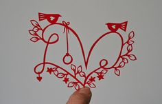 LOVE papercut flowers leaves botanic lace red by CraftyLou2, £40.00