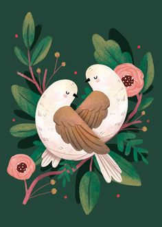 bird illustration Showcase and discover creative work on the worlds leading online platform for creative industries. Illustration Blume, Cute Illustration, Botanical Illustration, Christmas Illustration Design, Pattern Illustrations, Illustration Animals, Illustrations Posters, Art Watercolor, Turtle Dove