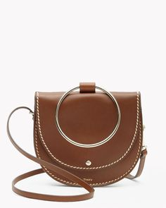 Whitney Hoop Bag in Topstitched Calf - $345