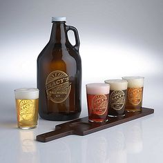 Personalized Brewing Co. Beer  Growler & Flight Glasses Set at Wine Enthusiast - $89.90