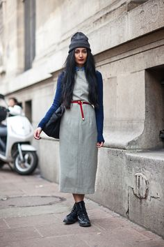 What I'd Wear : The Outfit Database (source : Stockholm Streetstyle )--- blue and grey with a pop of red