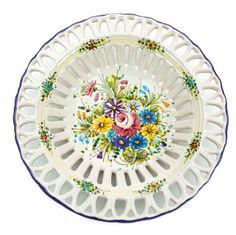 Ceramic centrepiece handmade and hand painter, flower traditional decoration Fioraccio (wild flowers) of Abruzzo. Classic style for home design.