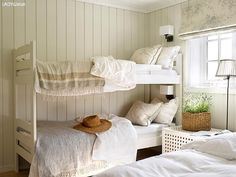 AFTER: The room looks brand new with its bright walls and delicate fabrics., AFTER: The room looks brand new with its bright walls and delicate fabrics. The old bunk bed is also painted. The bunk bed has the color Lady Supreme . Room, Hamptons Living Room, Bright Walls, Home Decor, House Interior, Bedroom Inspirations, Cottage Interiors, Bedroom Decor, Cottage Bedroom
