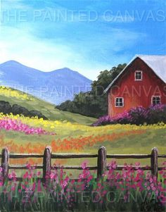 Barn and fields painting