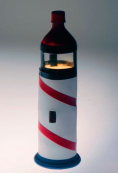 Turn a plastic water bottle into a decorative lighthouse.  Aug. 7 is National Lighthouse Day!
