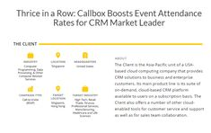 Callbox's Call-to-Invite campaign put together the list of target attendees to be contacted and was a good fit to help the Client meet its event marketing objectives. Event Marketing, Online Marketing, Cloud Computing Companies, Lead Generation, Case Study, Infographics, Invite, Campaign, Target