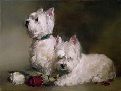 """Westies and Roses"" by Joseph Sulkowski. Image source: dogandhorsefineart.com"