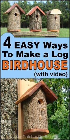 Homemade Bird Houses from a Natural Log (DIY Nesting Bird Box) Learn how to create homemade bird houses from a natural log. These handmade nesting boxes are great for bluebirds, chickadees, flickers, finchs, sparrows . Bird Feeder Plans, Bird House Feeder, Diy Bird Feeder, Unique Bird Feeders, Best Bird Feeders, Squirrel Feeder, Wooden Bird Houses, Bird Houses Painted, Bird Houses Diy