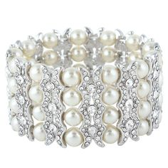 EVER FAITH® Silver-Tone Austrian Crystal Simulated Pearl Bridal Layers Stretch Bracelet Clear ** New and awesome product awaits you, Read it now  : Jewelry Bracelets