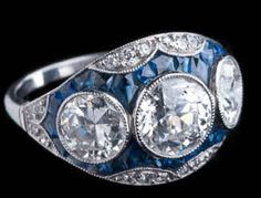 Art Deco Diamond Sapphire Dinner Ring