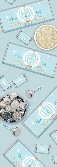 Your Disney Wedding will be sweeter with a candy buffet! Include personalized Cinderella Themed HERSHEY'S bars, silver foiled KISSES candies and Cream Soda Jelly Belly Jelly Beans