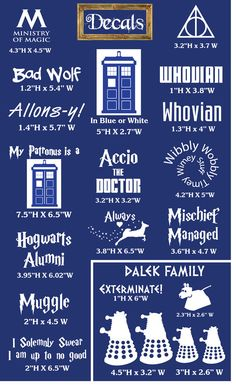 Harry Potter and Doctor Who Decals