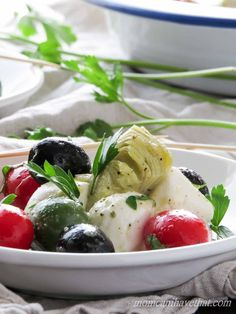 Caprese Salad with Olives & Marinated Artichoke Hearts is great for…