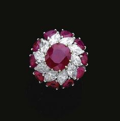 Magnificent Cluster Design Ruby & Diamonds Ring well suits to your whole outfit Red Jewelry, Indian Jewelry, Luxury Jewelry, Jewelry Rings, Fine Jewelry, Jewellery, Fashion Jewelry, Ruby Diamond Rings, Diamond Jewelry