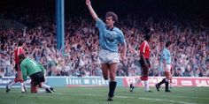 23rd September 1989. Manchester City 5 v Manchester United 1. Ian Bishop celebrating.