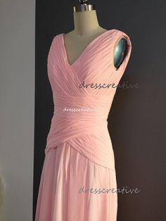 Long Bridesmaid Dress, Straps V Neckline Chiffon Knee Length Bridesmaid Dress, Pink Coral Blue Grey Purple Mint Navy Bridesmaid Dresses