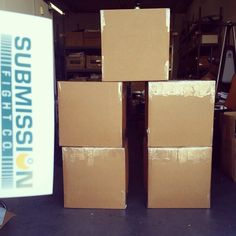 We have 100 brand new Submission bjj gis packed in these 5 boxes that we are donating to charity!