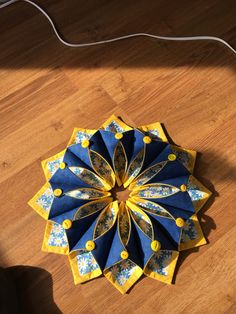 Blue and gold table or door wreath