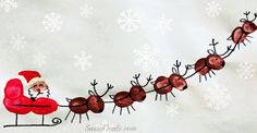Santa, his sleigh, and his reindeer Fingerprints Painted FROM: Christmas & Winter Fingerprint Craft Ideas For Kids - Crafty Morning