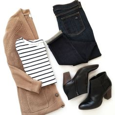 Camel cardigan with a navy striped top - fall outfit