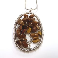 1 Tiger Eye Gemstone Chip Tree Wire Wrapped Pendant Natural Stone Beaded for Jewelry Necklace Crafts Findings T0243