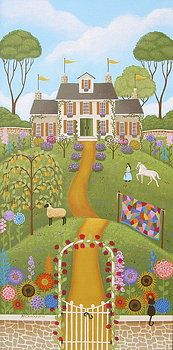 """""""Mansion Over the Hilltop"""" Folk Art Painting by Mary Charles"""